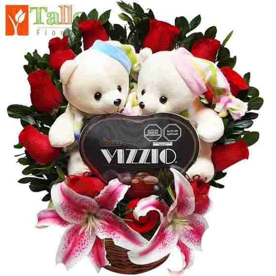 peluches con flores y chocolates